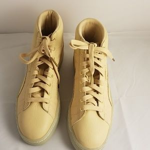 Puma Pink and Tan Leather High Tops Women 7B
